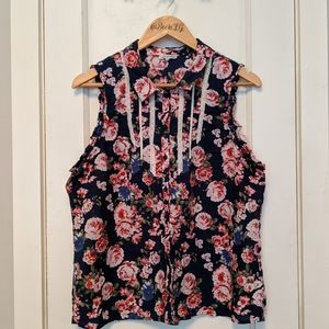 Modcloth Lace & Mesh Sleeveless Floral Blouse